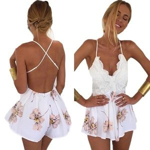 Lace Front Spaghetti Strap Backless Floral Romper